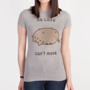 Pusheen Gray So Lazy Can't Move Cat Graphic Tee